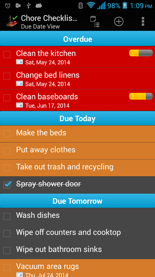 Chore Checklist- screenshot