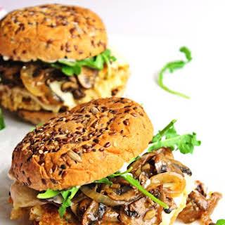 Cauliflower Quinoa Burgers With Mushrooms And Onions.