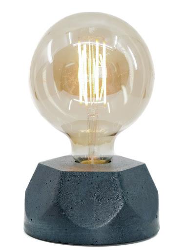 lampe en béton bleu pétrole design héxagone création  fait-main en atelier français par la créatrice Junny