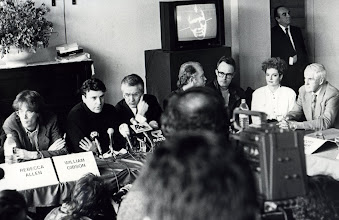 Photo: AF 1990  Press Conference William Gibson, Montxo Algora, Ferrán Mascarell, John Svereff, Andreu Morte, Rebecca Allen and Timothy Leary