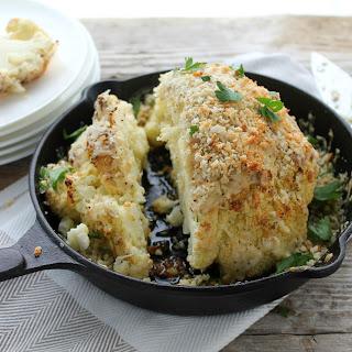 Crispy Whole Roasted Cauliflower with Everything Bagel Cheddar.