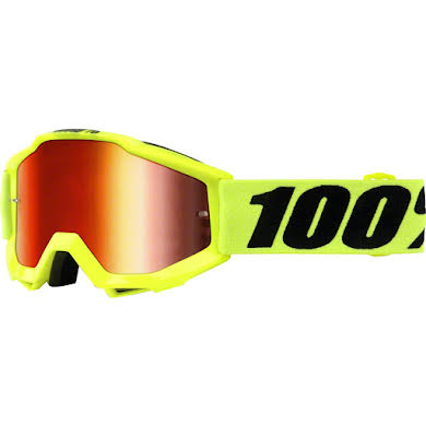 100% Accuri Youth Goggle, Fluo Yellow with Mirror Red Lens
