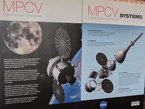 Photo: Orion posters in the Lockheed-Martin tent  at Press Site near Launch Pad 39A at Kennedy Space Center, STS-35 Space Shuttle blast off!  Cape Canaveral, Florida.