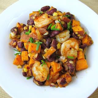 Cajun Shrimp Sweet Potato Hash.