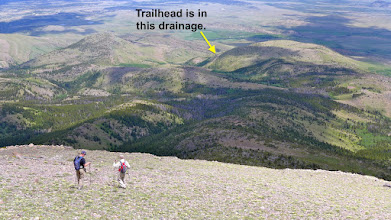 Photo: 2016 - You can't see the trailhead from here, but the yellow arrow marks the approximate location.