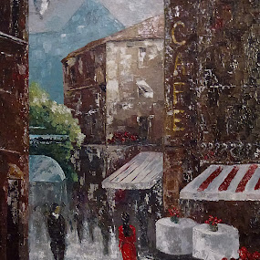 Cafe by Amas Art - Painting All Painting ( old town, cafe, painting, oil )