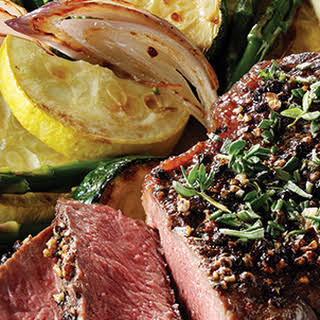 Tuscan Style Steak with Red Wine Peppercorn Sauce (Fresh Flavors April '15).