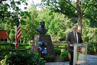 Photo: Eureka College President J. David Arnold speaks at the Reagan Memorial 2013