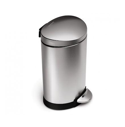 Semi-rund pedalhink Simplehuman 6 liter,  borstat rostfritt stål
