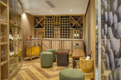 A peek at the Wine Cellar on the luxury river ship S.S. Sao Gabriel from Uniworld.