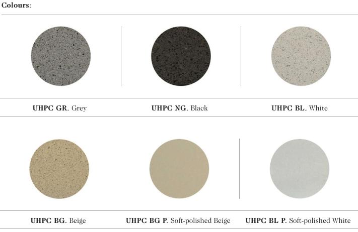 De kleur mogelijkheden in UHPC beton voor de Bruno zitbanken uit de collectie van Escofet 1886