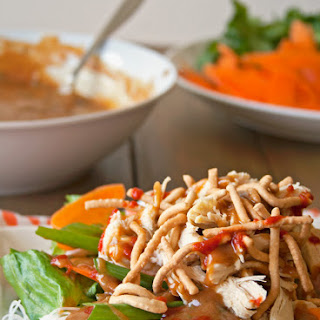 Asian Chicken Salad with a Spicy Peanut Sauce