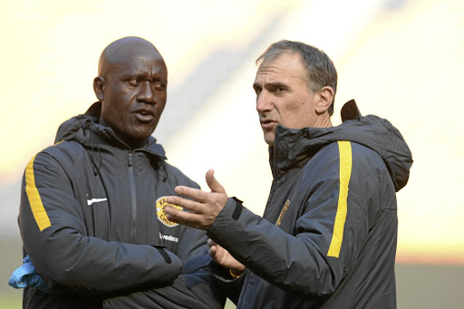 Plan of action: Kaizer Chiefs' new head coach, Giovanni Solinas, right, with assistant coach Patrick Mabedi, who may have to take charge of the team in Saturday's opener if Solinas fails to get his work permit in time. Picture: GALLO IMAGES/LEFTY SHIVAMBU