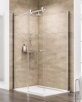 Porte de douche coulissante avec paroi latérale, 120 ou 140 x 80 cm, 120, 140 ou 160 x 90 cm, Manhattan