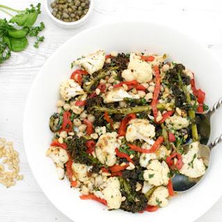 Purple Sprouting Broccoli & Cauliflower Salad with Salsa Verde [vegan].