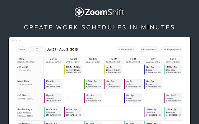 zoomshift employee scheduling software chrome web store
