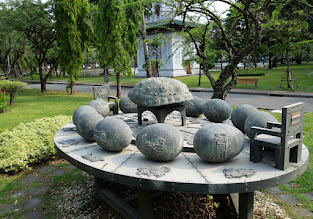 Photo: Interesting art - a turtle shell (typically meaning longevity, power, and tenacity) surrounded by zodiac signs represented as eggs, the two chairs have the flag of Japan and Thailand. Any guesses?