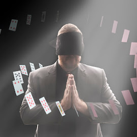 Magic Man by Joshua Clifford - Digital Art People ( magic, fancy, cards, edited, spiral, photoshop, float, portrait, jack, blindfold, floating, man, circle, magician, manipulation, card, spotlight )