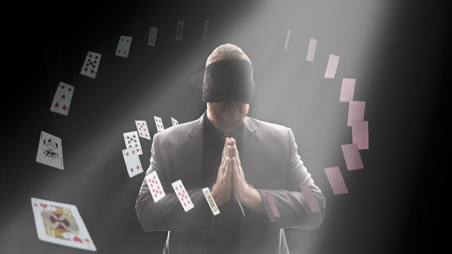 Magic Man by Joshua Clifford - Digital Art People ( magic, fancy, cards, edited, spiral, photoshop, float, portrait, jack, blindfold, floating, man, circle, magician, manipulation, card, spotlight )
