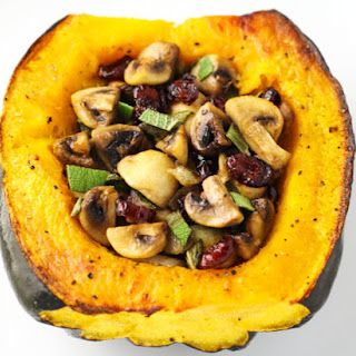 Roasted Acorn Squash Stuffed With Sage Mushrooms and Cranberries