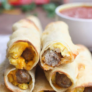 Egg and Sausage Breakfast Taquitos.
