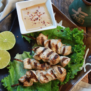 Chicken Satay Skewers with Spicy Peanut Sauce.