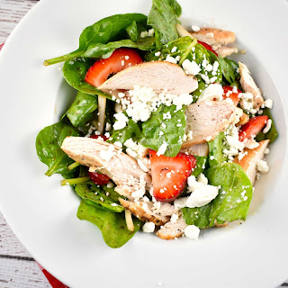 Grilled Chicken Spinach and Strawberry Salad.