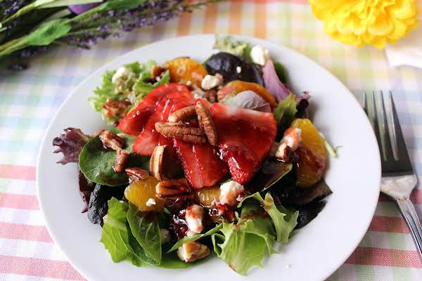 Spring Salad With Fruit, Feta, And Pecans Recipe