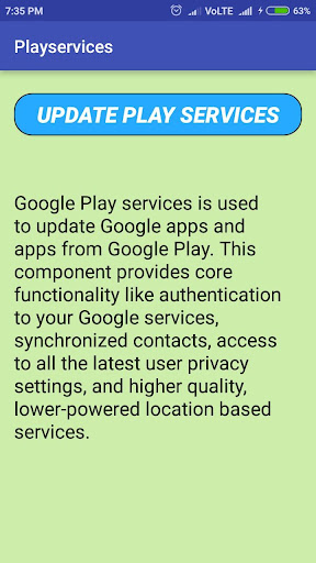 Play services and error(update) 1.2 screenshots 2