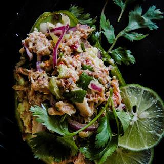 Raw Avocado Tuna salad with Onion and cilantro..