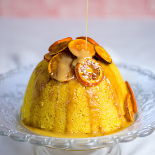 Orange and Almond Steamed Pudding with Toffee Sauce.