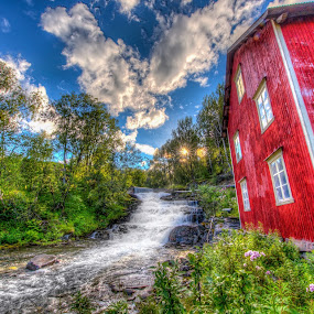 Foldvik mill by Benny Høynes - Buildings & Architecture Public & Historical ( canon, mill, waterfall, norway )