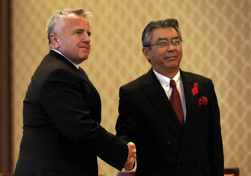 US Deputy Secretary of State John Sullivan meets Japanese counterpart Shinsuke Sugiyama at the Japanese Foreign Ministry's Iikura guest house in Tokyo on October 17 2017. Picture: REUTERS
