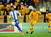 Maritzburg United attacking midfielder Keagan Buchanan (L) vies for the ball with Kaizer Chiefs striker Leonardo Castro during the Absa Premiership match at Harry Gwala Stadium in Pietermaritzburg on August 17 2018.