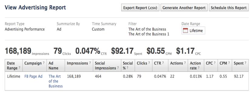 Báo cáo từ dịch vụ quảng cáo facebook chi tiết, cụ thể