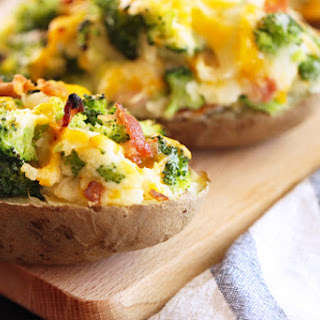 Twice-Baked Potatoes with Bacon, Broccoli, and Cheddar.