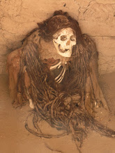 Photo: Mummy at a burial ground near Nazca - ckeck out those dreds!