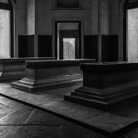 Burials of Mughals by Swapan Banik - Black & White Abstract ( tomb, golden finials, mughal architecture, burial chamber, architecture, heritage, unesco, burials of mughal, delhi, nizamuddin, burials of humayun, unesco world heritage centre, dargah, humayun's tomb, mughal, humayun )
