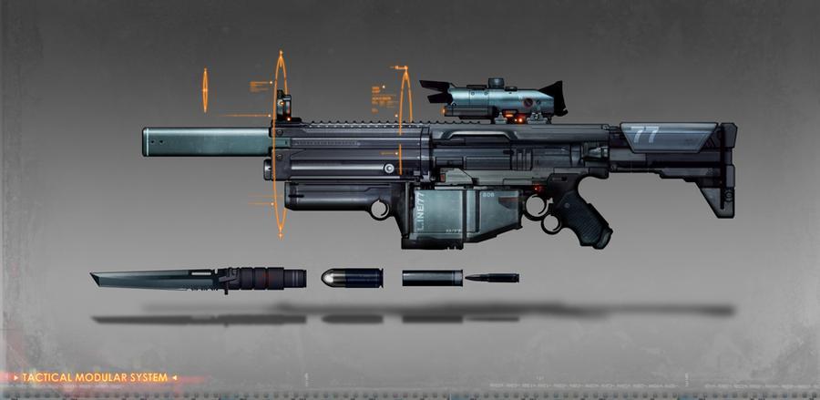 commissioned modual assault rifle concept art by torvenius on DeviantArt
