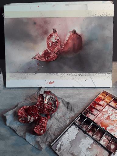 aquarelle Jeanne Papa_Punica granata_2018