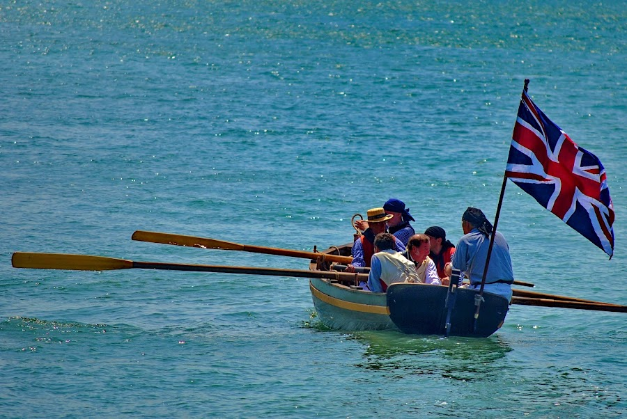 Altogether Pull! by David Clare - Transportation Boats ( oars, reenactment, long boat, war of 1812, military, british, history, river, water, boat, paddle,  )