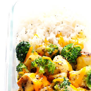 Cheesy Broccoli, Chicken and Rice Bowls (Meal Prep).