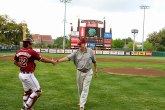 Photo: Wayne Howell, a pitcher from the 1948 Seminole Baseball team (FSU's first) throws out the ceremonial first pitch before the start of the FSU-Notre Dame series on baseball alumni reunion weekend.
