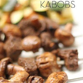 Steak and Mushroom Kabobs.