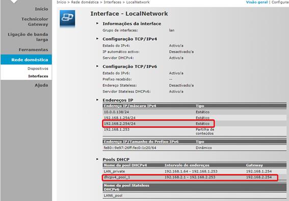 MEO Technicolor TG784n v3 Confirmar que foram adicionados os Endereços IP e Pools DHCP