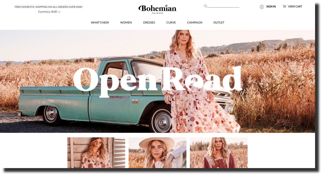 Bohemian Traders website screenshot fashion brand Ecommerce Website Designs
