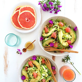 Shaved Brussels Sprout & Grapefruit Salad with Grapefruit Tahini Dressing