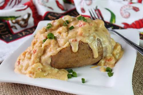 """Creamy Crawfish Baked Potatoes """"A local restaurant that closed years ago used..."""