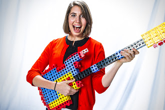 Photo: Caitlin Bigelow of Rokenbok Toy Company (http://www.youtube.com/user/Rokenbok/featured) plays the RokBlocks guitar during the YouTube Marketing Ambassadors Summit. Credit: Bryan Davis