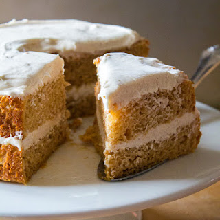 Pumpkin Angel Food Cake with Harvest Cream Cheese Frosting.